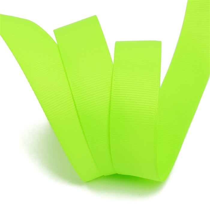 Лента Ideal репсовая в рубчик шир.25мм цв. 544 (099) флуор.салатовый уп.27,42м - фото 248981