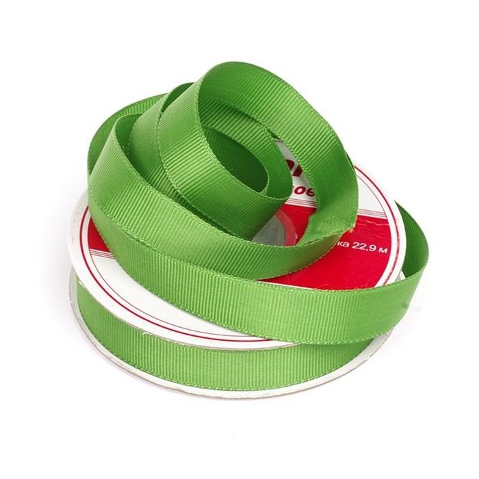 Лента Ideal репсовая в рубчик шир.15мм цв. 579 ярк.зеленый уп.27,42м - фото 249075