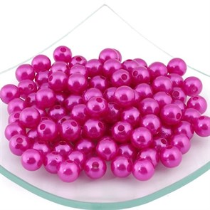 Бусины MAGIC HOBBY круглые перламутр 10мм  цв.137 розовый уп.50гр  (90 шт)