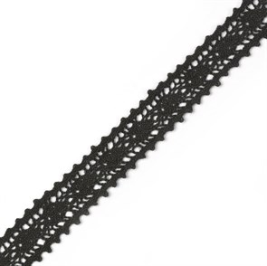Тесьма вязаная TBY-5578-1.03 шир.15мм цв.черный уп.9,14м