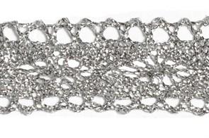 Тесьма отделочная  арт.10031 шир.25 мм  цв. серебро  уп.18.28м