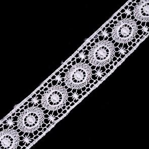 Кружево гипюр арт.TBY-14196 шир.35мм цв.001 белый уп.13.71м