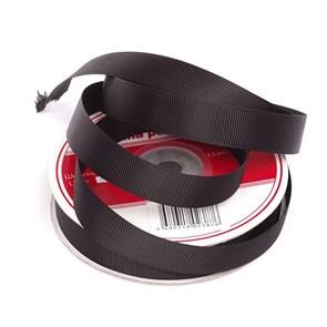Лента Ideal репсовая в рубчик шир.15мм цв. 030 черный уп.27,42м