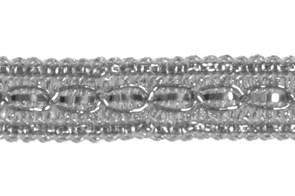 Тесьма отделочная  арт.8024 шир. 13 мм  цв. серебро  уп.18.28м