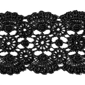 Кружево гипюр арт.TBY-YS02 шир.50мм цв.черный уп.13.71м