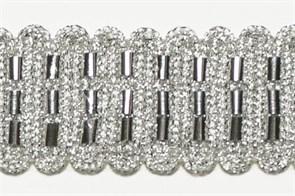 Тесьма отделочная  арт.10309 шир.30 мм  цв.серебро  уп.12,98м