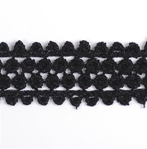 Кружево гипюр арт.TBY-KB-11 шир.25мм цв.черный уп.13.71м