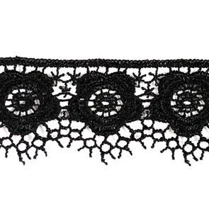 Кружево гипюр арт. КМС-1018 шир.34мм цв.черный уп.13.71м