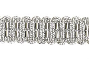 Тесьма отделочная  арт.10305 шир.22 мм  цв.серебро  уп.12,98м