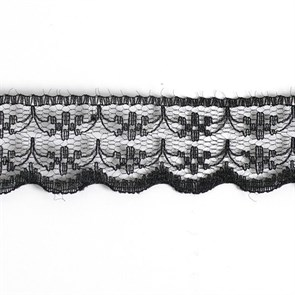 Кружево-трикотаж арт.TBY-133-1A шир.20мм цв.черный уп.45,7м