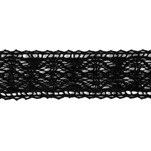Тесьма вязаная хлопок арт.TBHA.944 шир.20мм цв.черный уп.45,7м