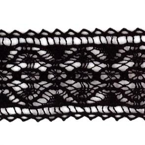 Тесьма вязаная хлопок арт.TBHA.955 шир.28мм цв.черный уп.45,7м