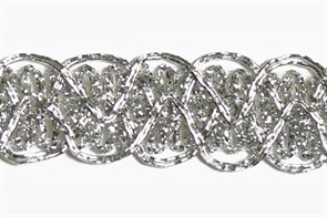 Тесьма отделочная  арт.8099 шир. 20 мм  цв. серебро  уп.18.28м