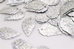 Пайетки россыпью Ideal  арт.ТВY-FLK628  13х24мм  цв.50112 серебряный уп.50гр
