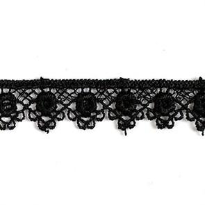 Кружево гипюр арт. КМС-1005 шир.14мм цв.черный уп.13.71м