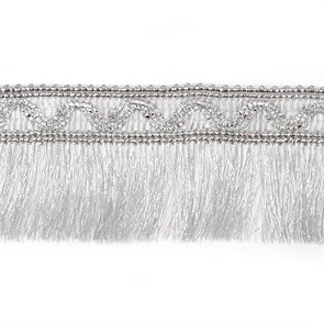 Тесьма-бахрома  арт.TBY-006/4685  шир.55мм цв. серебро  уп.13.71м