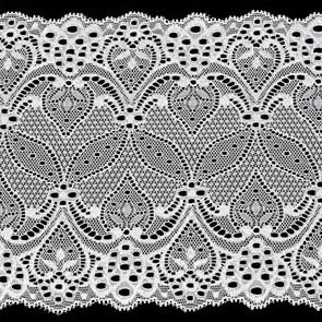 Кружево-стрейч арт.TBY-1382 шир.180мм цв.белый уп.18,3м