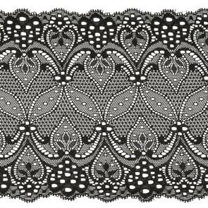 Кружево-стрейч арт.TBY-1382 шир.180мм цв.черный уп.18,3м