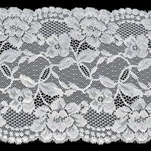 Кружево-стрейч арт.TBY-2017 шир.190мм цв.белый уп.18,3м