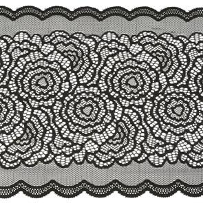 Кружево-стрейч арт.TBY-51030 шир.220мм цв.черный уп.18,3м