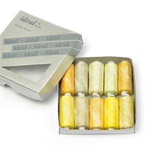 Набор бытовых ниток  IDEAL  40/2  , 366м  100% п/э, ассорти (желтые оттенки) уп.10шт