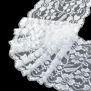 Кружево-стрейч арт.TBY-RY08 шир.180мм цв.белый уп.18,3м