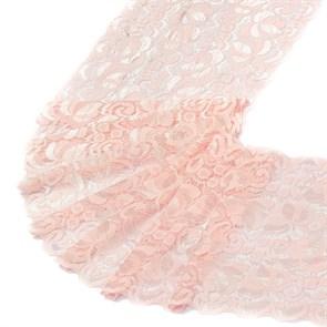 Кружево-стрейч арт.TBY-RY01 шир.180мм цв.св.розовый уп.18,3м
