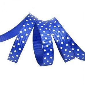Лента репсовая арт.LDRG32902912 (100) крупный горох 12мм  цв.синий-белый уп.27,4м