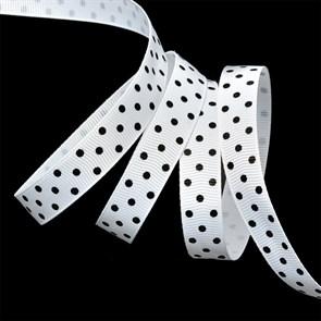 Лента репсовая арт.LDRG02903012 (70) крупный горох 12мм  цв.белый-черный уп.27,4м