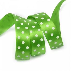 Лента атласная арт.LDAG57902925 (53) крупный горох 25мм  цв.зеленый-белый уп.27,4м
