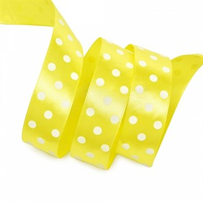 Лента атласная арт.LDAG64002925 (56) крупный горох 25мм  цв.желтый-белый уп.27,4м