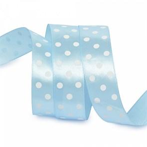 Лента атласная арт.LDAG31102925 (38) крупный горох 25мм  цв.голубой-белый уп.27,4м