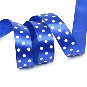 Лента атласная арт.LDAG32902925 (41) крупный горох 25мм  цв.синий-белый уп.27,4м