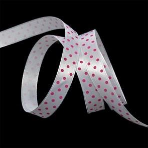 Лента атласная арт.LDAG02918712 (4) крупный горох 12мм  цв.белый-розовый уп.27,4м