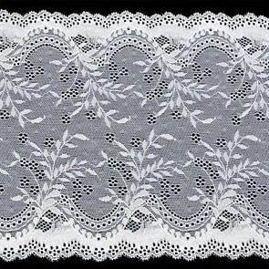 Кружево-стрейч арт.TBY-2137 шир.210мм цв.белый уп.18,3м