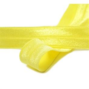 Косая бейка эластичная 15мм цв.F108 пастельно-желтый уп.50 м