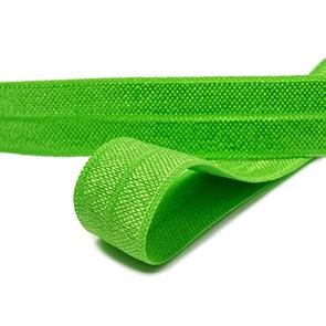 Косая бейка эластичная 15мм цв.F238 ярк.зеленая уп.50 м