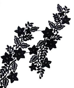 Аппликации пришивные (лейсы) арт.KL-LG091 уп.2шт. цв.черный 27х7,5см