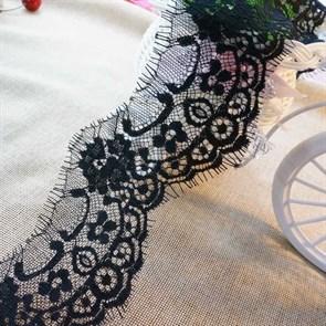 """Кружево """"реснички"""" арт.KRK-7828 шир.70мм цв.черный уп.3м"""