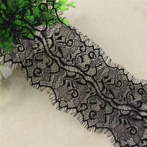 """Кружево """"реснички"""" арт.KRK-7057 шир.120мм цв.черный уп.3м"""