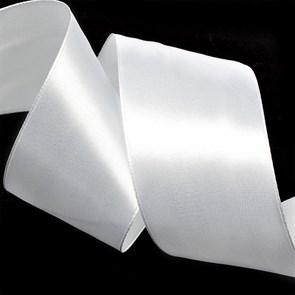 """Лента атласная 2"""" (50мм) цв.3001 белый IDEAL уп.27,4 м"""
