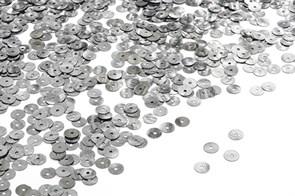 Пайетки плоские россыпью Ideal ТВY-FLK022 6мм цв.02 металик уп.50гр