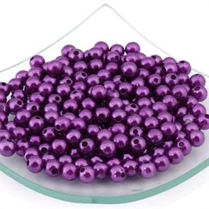 Бусины MAGIC 4 HOBBY круглые перламутр  8мм  цв.H56 т.фиолетовый уп.50гр (220шт)