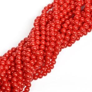 Бусины MAGIC 4 HOBBY круглые перламутр 8мм цв.H14 красный уп 10 нитей, нить 80 см (1400шт)