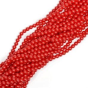 Бусины MAGIC 4 HOBBY круглые перламутр 6мм цв.H14 красный уп 10 нитей, нить 80 см (1180шт)