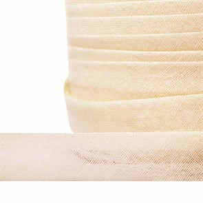 Косая бейка хлопок TBY арт.CB15 шир.15мм цв.F104 молочный уп.132 м