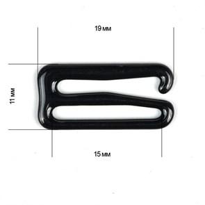 Крючок для бюстгальтера металл TBY-8262 d15мм, цв.02 черный, уп.100шт