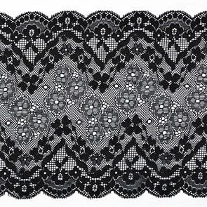 Кружево-стрейч арт.TBY 8010 шир.180мм цв.2 черный уп.18,3м