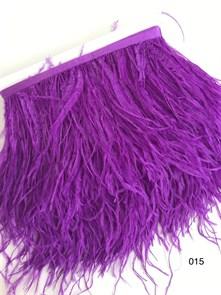 Перья на ленте (cтраус) арт.TPK-015 шир.12-15 см цв.фиолетовый уп.2м