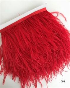 Перья на ленте (cтраус) арт.TPK-003 шир.12-15 см цв.красный уп.2м